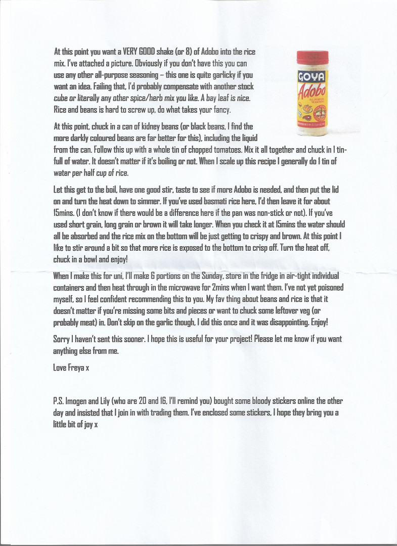 Letter sent by Freya p.2