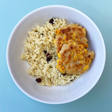 Chickpea Fritters with Lemon and Raisin Couscous
