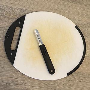 Cutting board and potato peeler