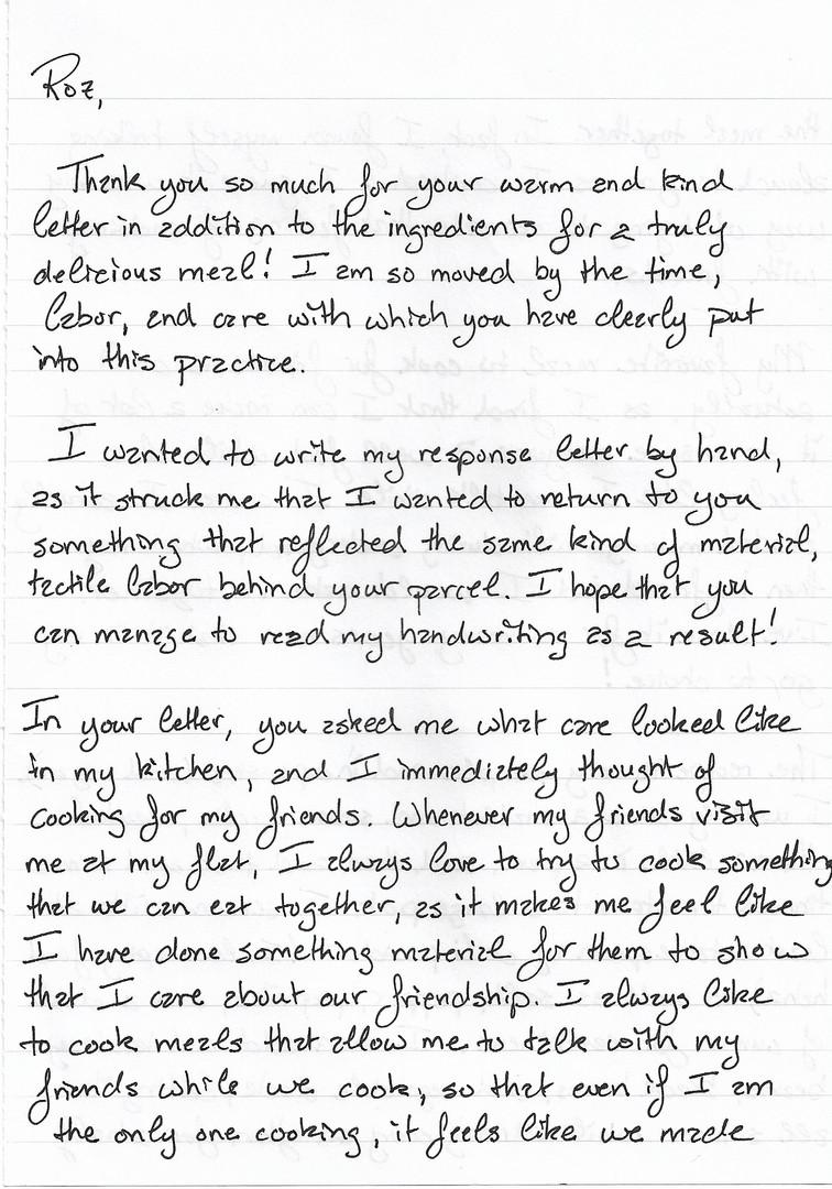Letter sent by Bettie p.1