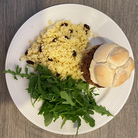 Kidney Bean Burger and Couscous