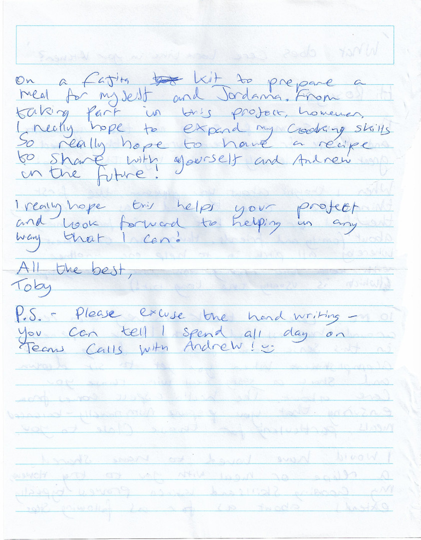 Letter sent by Toby p.2