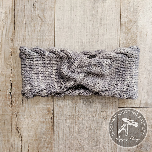 CABLED EDGE EAR WARMER   MACHINE KNIT PATTERN