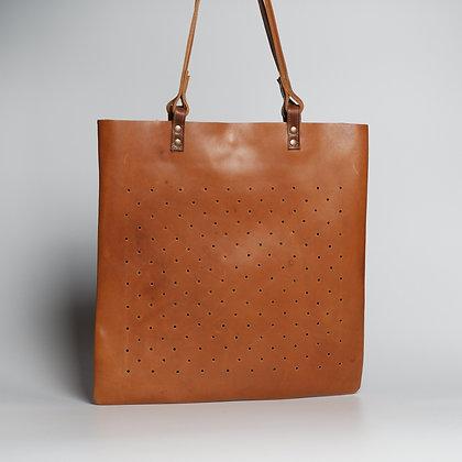 Tote Orange Brown w Holes
