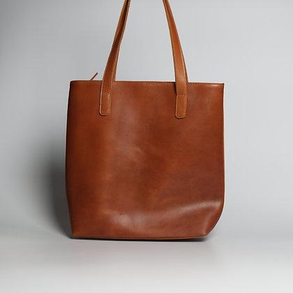 Tote Orange Brown w YKK Zipper