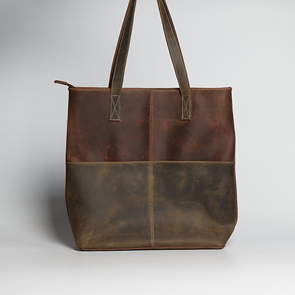 Tote Brown & Red Two-Toned
