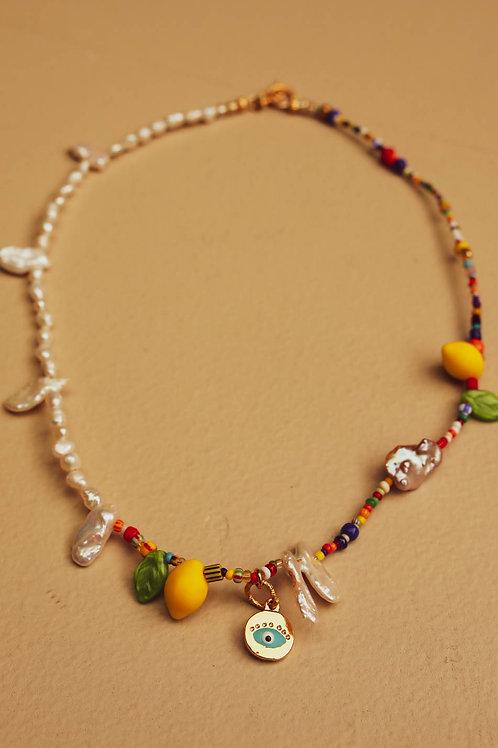 Mini red evil eye with lemons choker necklace