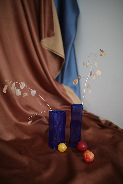Blue glass pair of vases