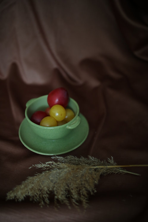 muted green bowl and plate set