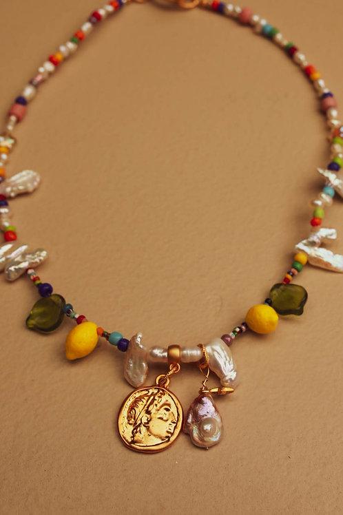 Greek coin & lemons choker necklace