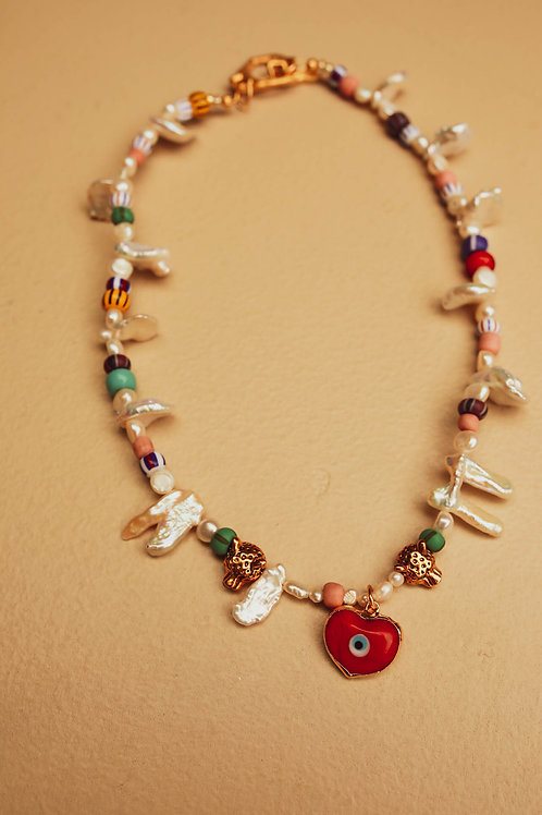 Red heart evil eye choker necklace
