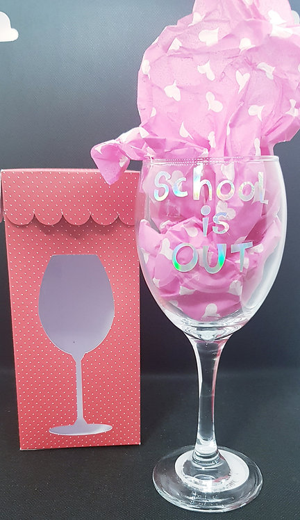 School is out wine glass