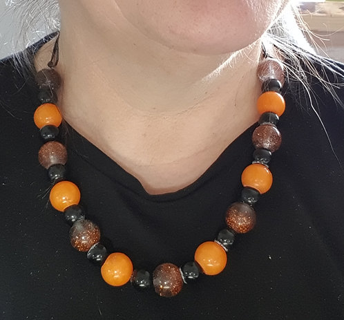 Resin bead necklace with matching earrings