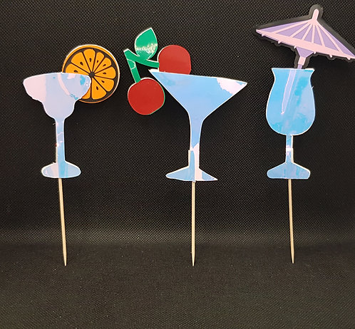 Cocktail cake toppers