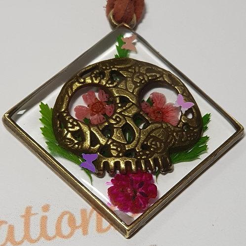 Funky flowery skull