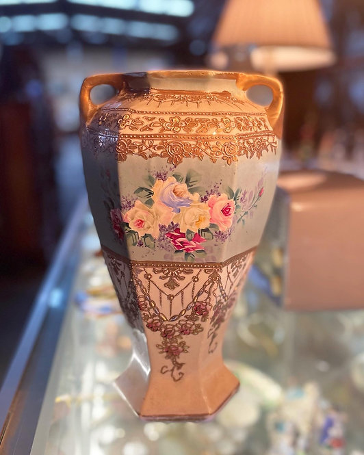 Vintage Hexagon Hand-Painted Ceramic Vase with Floral Motifs