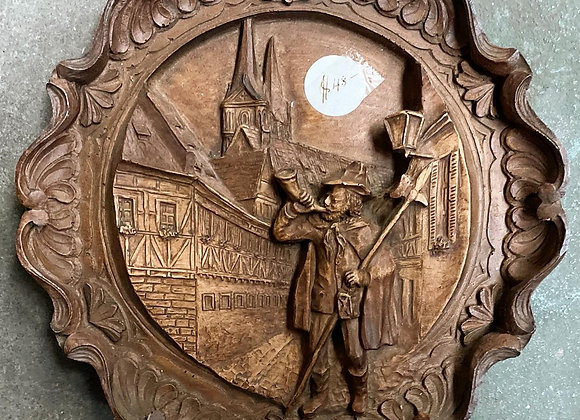 Unique Round Hand-Carved Relief Wooden Artwork (Germany)
