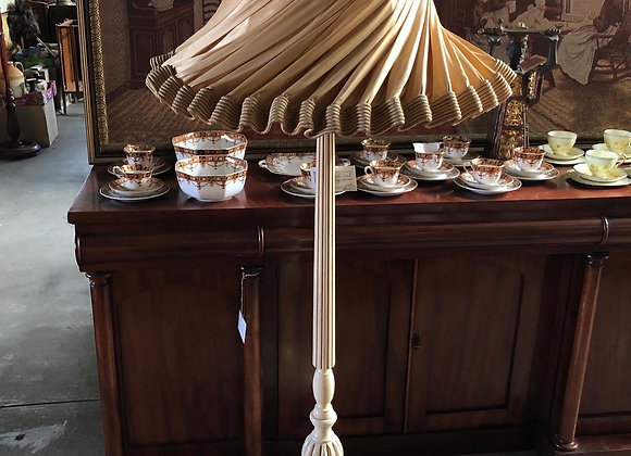Stunning Antique Standing Lamp with a Light Brown Shade