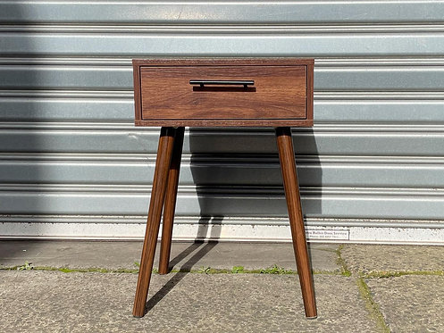 Mid Century Modern 1 Drawer Scandinavian Style Bedside Table in Solid Condition