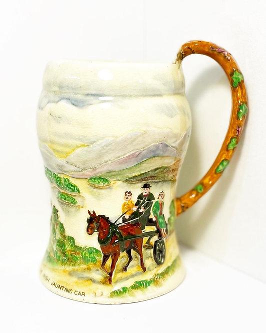 "Vintage Porcelain ""The Irish Jaunting Car"" Musical Tankard by 'Crown Devon'"