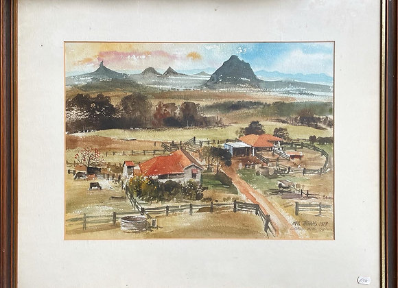 Watercolour Artwork of Glass House Mountains by Max Thomas, 1977 (QLD)