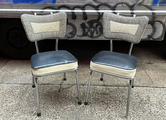 A Set of 2 Art Deco Kitchen Chairs with Chrome Base