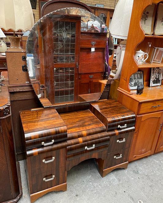 Solid 7 Drawer Art Deco Dresser with Bevelled Mirror