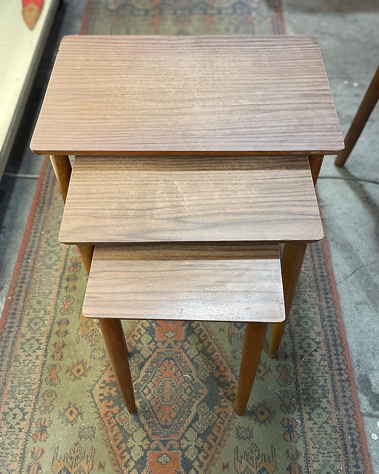 Solid 3-Piece Melamine Nest of Tables Set in Good Condition