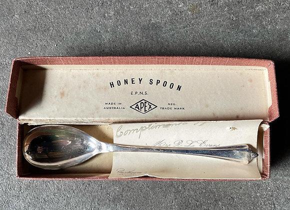 Vintage Australian Apex Sterling Silver Honey Spoon in Original Box