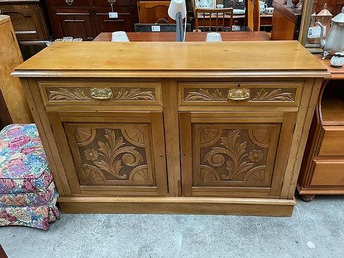Antique Victorian Ash 2 Door 2 Drawer Cabinet in Good Condition