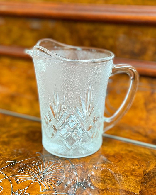Gorgeous Vintage Pressed Diamond Cut Crystal Glass Pitcher from C.1960s
