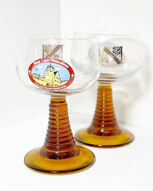 A Pair Genuine Vintage 'Burg Layer Weincabinet' Riesling Wine Glasses