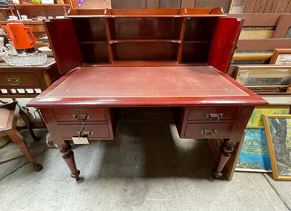 Stunning Antique Cedar Desk with Embossed Leather Top & Shelves