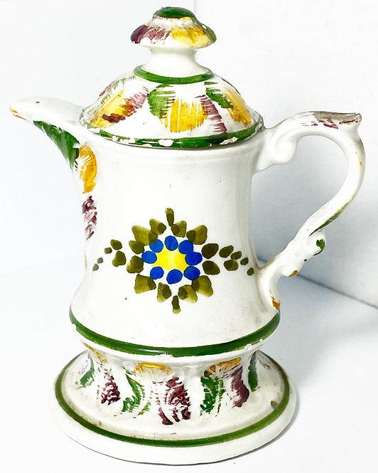 Vintage Decorative Ceramic Coffee Pot Figurine with Floral Ornaments