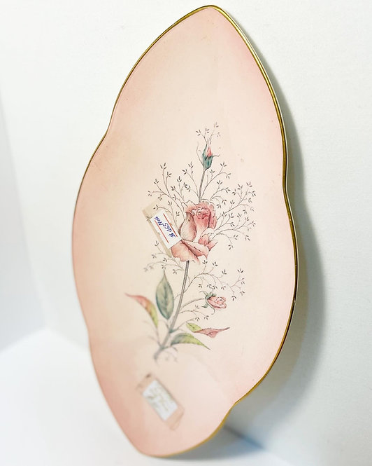 Hand-Painted Pink Floral 'Carlton Ware' Porcelain plate from C.1960's