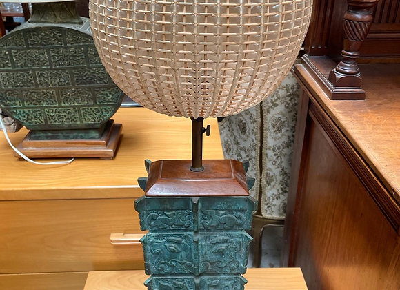 Handcrafted Chinese Style Bronze Table Lamp with a Round Shade