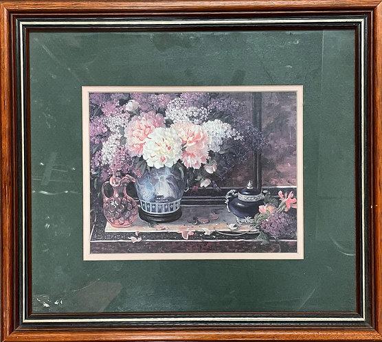 Beautiful Vintage Print of Oriental Florals Artwork