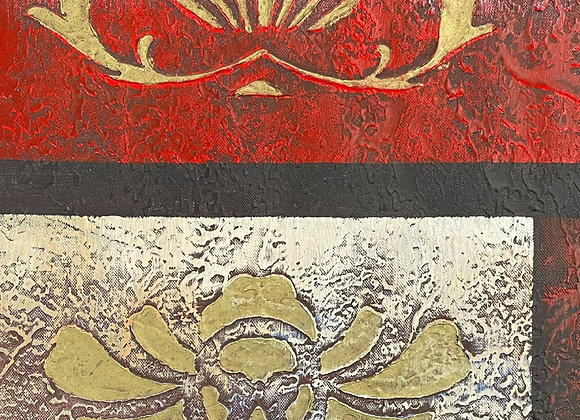 Modern Abstract Oil on Canvas Painting with Floral Motifs