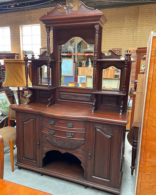 Antique Victorian Blackwood Sideboard with Mirrored Back Panel