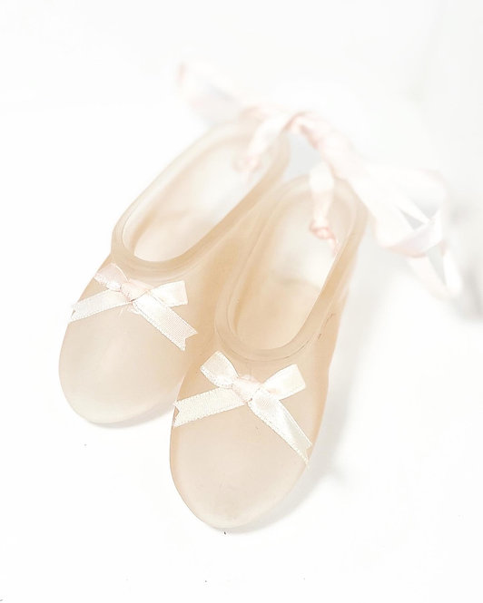 Vintage Frost Glass Decorative Figurines of Ballerina Shoes