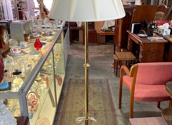 Beautiful Vintage Brass Standing Lamp with White Shade