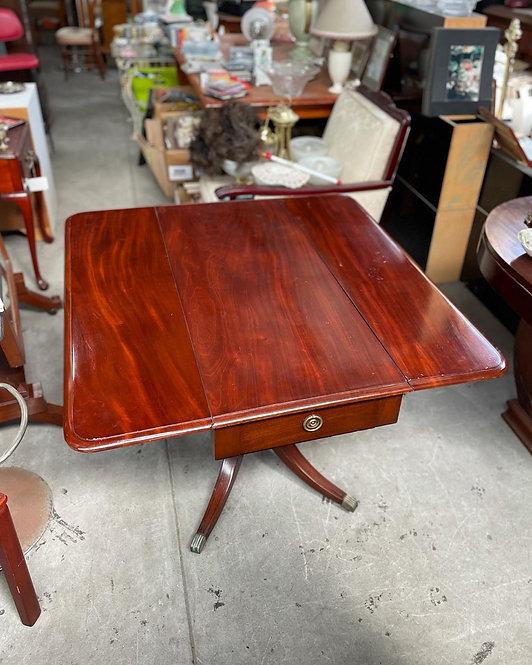 Antique Regency Style Mahogany Drop-Leaf Table on Castors