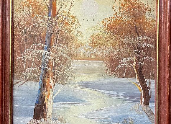 Vintage Framed Impressionist Oil Artwork of the Forest
