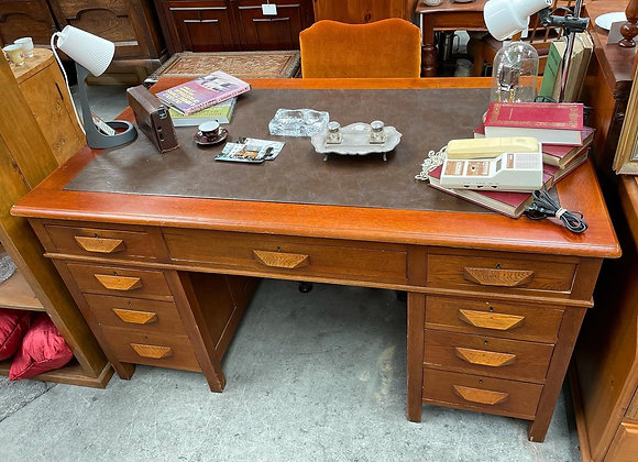 Stunning Antique 3-Piece Oak Office Desk with Leather Top
