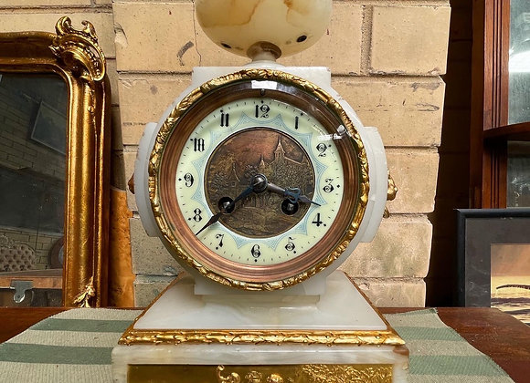 Antique French Gilded Onyx Marble Mantle Clock