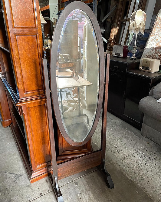 Impressive Black Bean Stain Standing Cheval Mirror from C.1930s