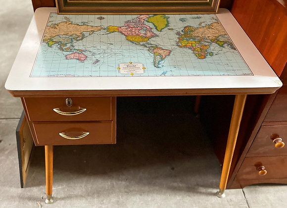 Retro Mid-Century World Map Desk manufactured by C. R. O. Furniture