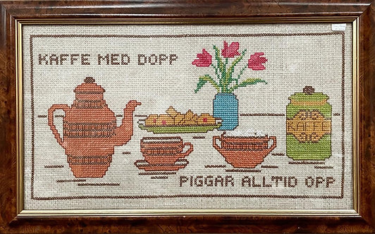 Vintage Swedish 'Kaffe med Dopp piggar alltid Opp' Framed Artwork