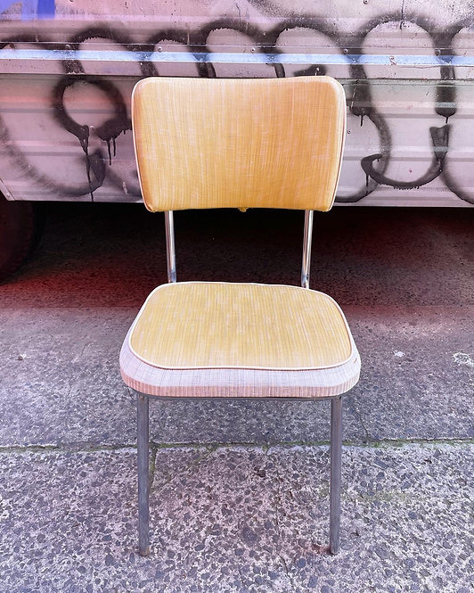 Retro Yellow Upholstery Chrome Base Chair manufactured by NAMCO