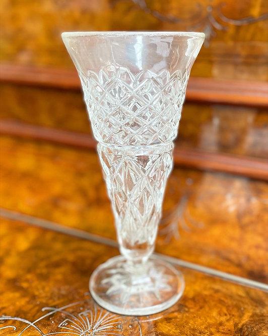 Spectacular Vintage C.1950s Diamond Cut Crystal Glass Vase/Dessert Dish